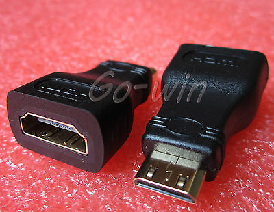 2pcs Black Mini HDMI To HDMI Adapter HDMI Female to Mini Hdmi Male Adapter