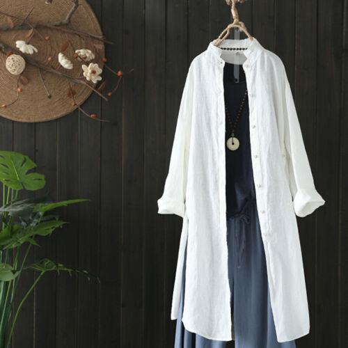 ZANZEA Women Stand Collar Buttons Down Long Shirt Tops Loose Plain Blouse Plus