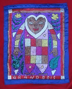Haitian-Vodou-Stunning-Sequined-Flag-For-Herbal-Healer-amp-Nature-Loa-Gran-Bwa