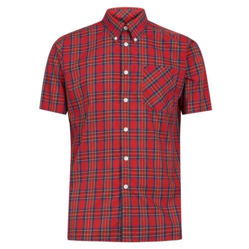 Red Mens Merc London Button Down Collar Short Sleeve Tartan Check Shirt Mack