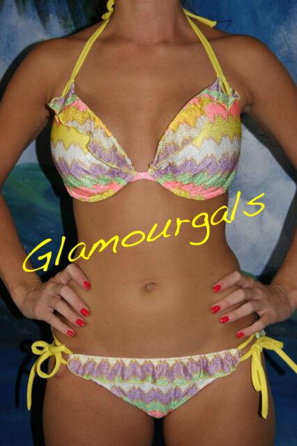 New Victorias Secret Gorgeous Bombshell Push Up Chevron Knit Ruffle Bikini 34DD