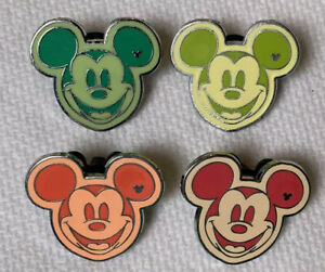 Lot-of-4-Disney-Trading-Pins-2008-Hidden-Mickey-Mouse-Heads-Colorful-WDW-DLR