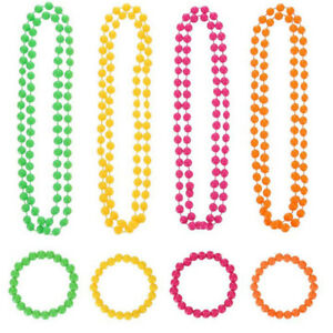 Neon Beads Necklace//Bracelet 80s Bright Rave Fancy Dress Costume Accessory