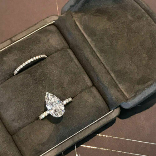 1.5carat prong pear diamond engagement bridal ring 14k white gold over jewellery