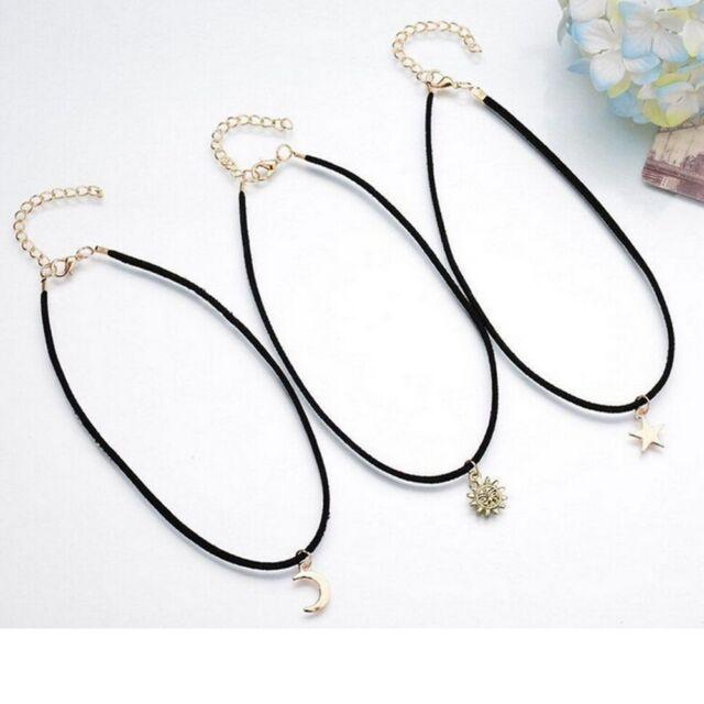 Of Star/ Moon /Sun Gods Modeling Velvet Multi - Layer Necklace Clavicle Chain