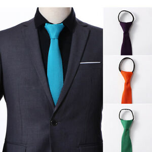 Fashion-Men-039-s-Solid-Color-Skinny-Tie-Knitted-Woven-Wedding-Party-Zipper-Necktie