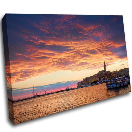 Sunset Old City Rovinj Croatia Canvas Poster Wall Art Print Picture Framed AR591