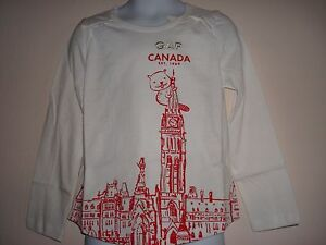 Girl-Gap-Canada-Long-Sleeve-Graphic-T-Shirt-Size-3T-NWT
