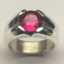 MJG STERLING SILVER MEN'S RING. 10MM LAB RUBY PRONG SET. SIZE 10