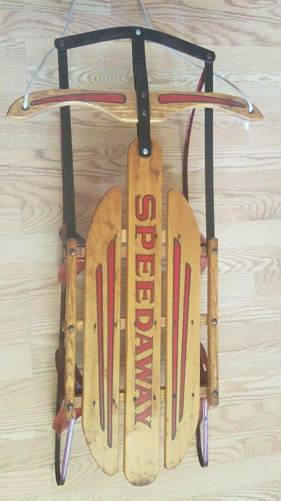 Vintage Gladding Paris Model 840 Speedway Rail Sled Toboggan Wood 38