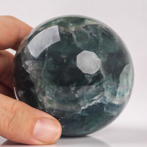 605g 71mm Large Natural Green Fluorite Quartz Crystal Sphere Healing Ball Chakra
