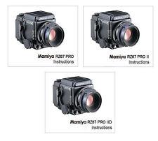 MAMIYA RZ67 PRO, RZ67 PRO II and RZ67 PRO IID CAMERA INSTRUCTION MANUALS on CD