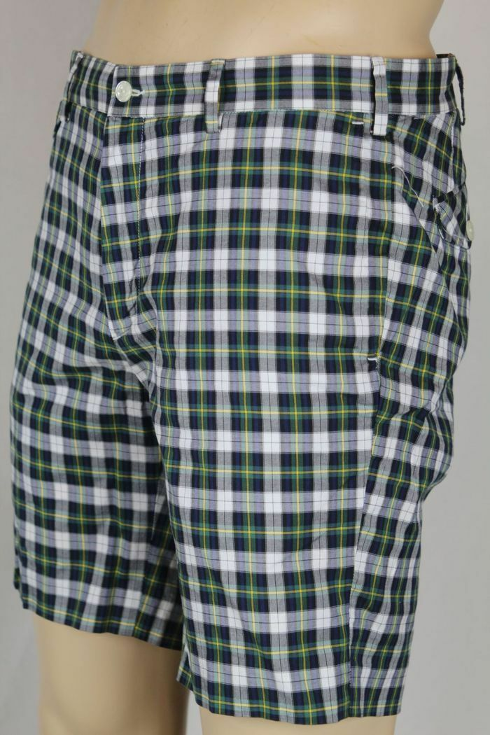 Polo Ralph Lauren Green bluee Yellow White Plaid Slim G.I. Fit Shorts NWT 40
