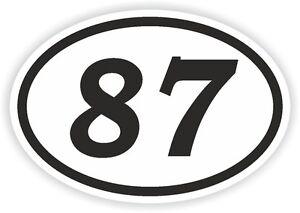 87-eighty-seven-N-Pegatina-Ovalada-Parachoques-MOTOCROSS-MOTO-AUFKLEBER