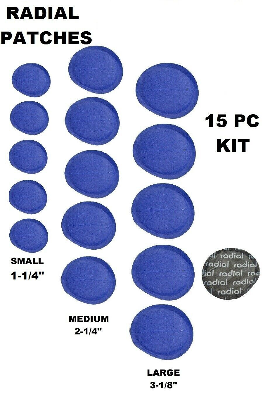 41mm 300pc Radial Tire Repair Round Patch Small 1-5//8