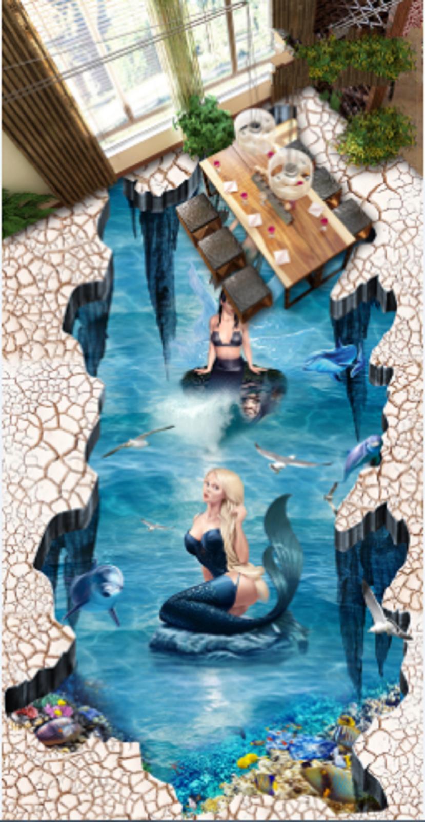 3D Sea Princess 5 Floor WallPaper Murals Wall Print Decal AJ WALLPAPER US Summer
