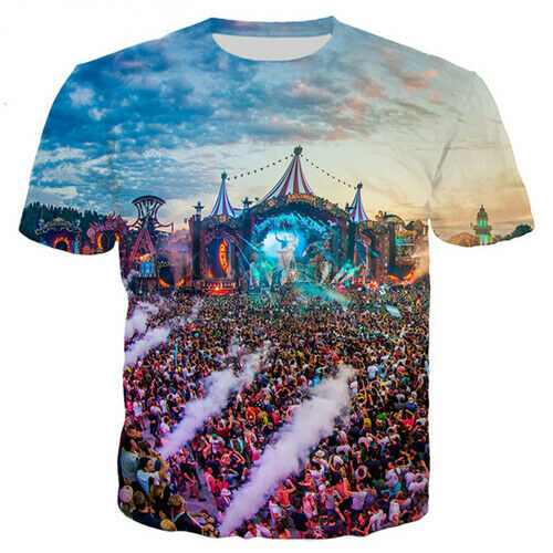 Femmes T-Shirt Hommes d/'impression 3D Circus Tomorrowland Rassemblement à manches courtes Tee Tops