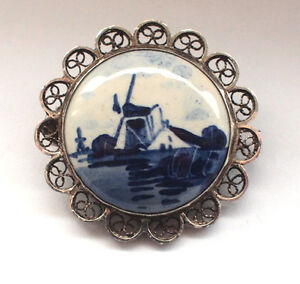 JW Authentic Signed Delft Blue and White Windmill Sterling Filigree Brooch