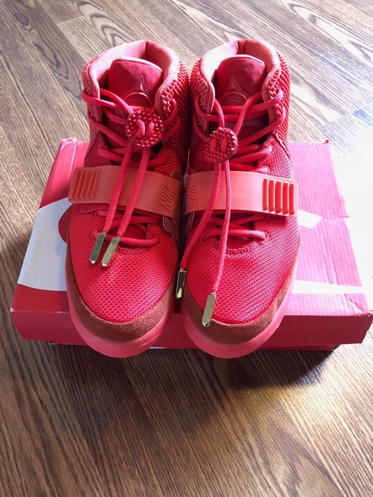Nike air yeezy 2 ottobre rosso sz us9 uk8 kanye west 508214-660