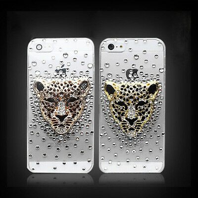 3D Bling Crystal Diamond Rhinestone Leopard Head Case Cover For Alcatel Phones