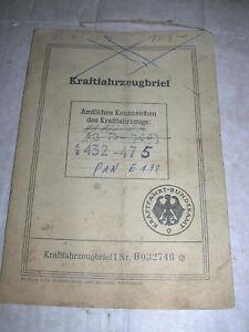 Alter-KfZ-Brief-FORD-Taunus-12M-Weltkugel-Taunus-Baujahr-EZ-1952