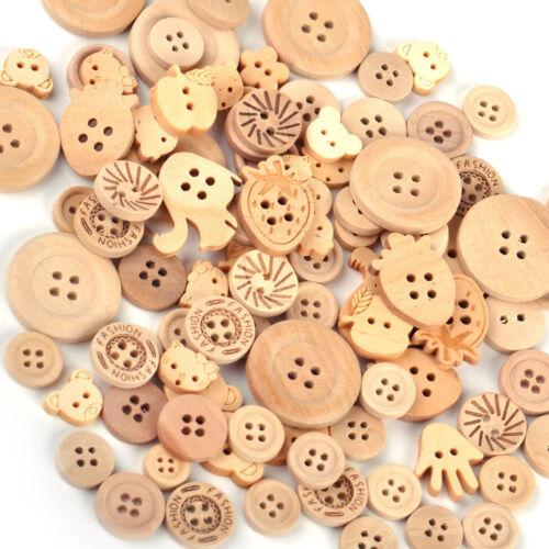 100stk Holz Knöpfe Mix Stil 2//4 Löcher Nähen Bastel knöpfe Kinder Buttons DIY