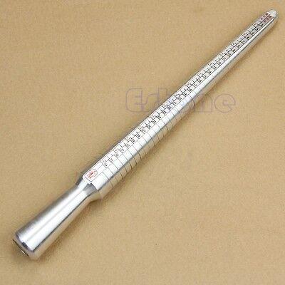 Silver Metal Ring Sizer Guage Mandrel Finger Sizing Stick Measure Standard Tool