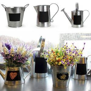 Zinc-Metal-Cans-With-Chalk-Board-Garden-Home-Plant-Pots-Planter-Outdoor-Indoor