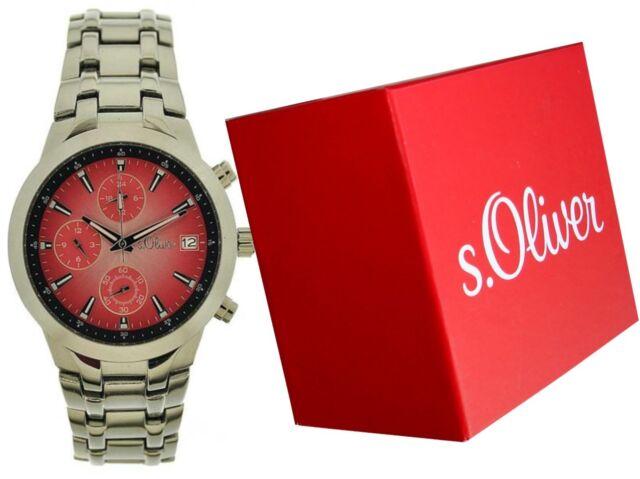 Aktion:S.Oliver Herren Chronograph SO-15059-MQR, Edelstahl Armband, Uhrenbox
