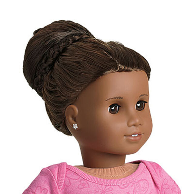 American Girl Chic Dark Brown Bun Doll Hair Extention Updo