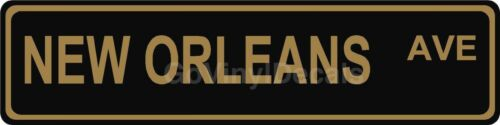 "6/"" x 24/"" Black /& Gold New Orleans Ave Football Street Road Name Sign"