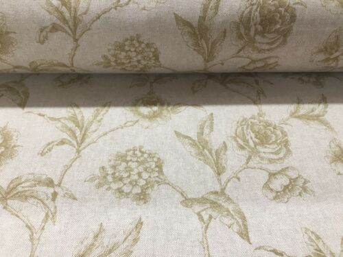 Provencal Toile OCHRE Yellow Linen//Cotton 140cm wide Curtain//Upholstery Fabric