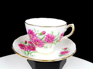 "ROYAL VALE ENGLAND RIDGWAY POTTERIES #7842 PINK FLOWERS 2 5/8"" CUP AND SAUCER"
