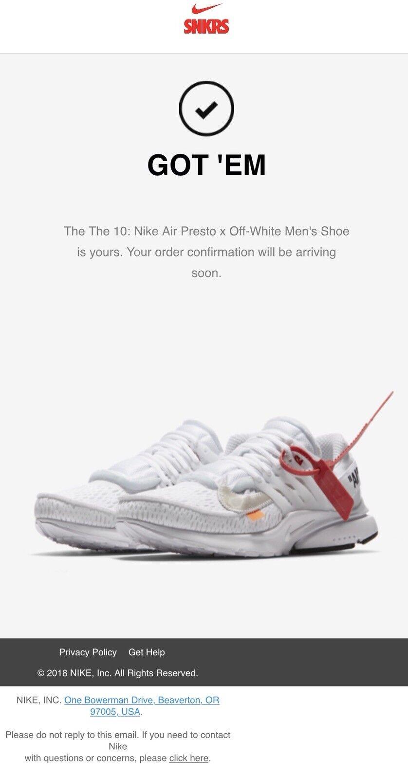 The (Ten) 10: Nike Air Presto x Off-White Men's Shoe - size 11 CONFIRMED.