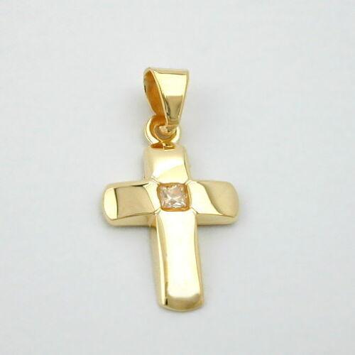 18 Kt Kinder Kreuz mit Zirkonia Echt Gold 750 mit Kette Silber 925 vergoldet