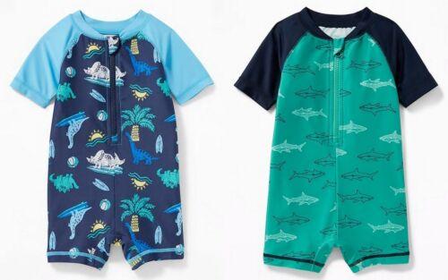 NWT Old Navy Dinosaur Sharks One-Piece Rashguard Swimsuit Swimwear 12-18 18-24