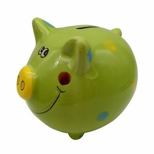 Child-Cute-Pig-Ceramic-Polka-Dot-Piggy-Bank-Toy-Bank-Green