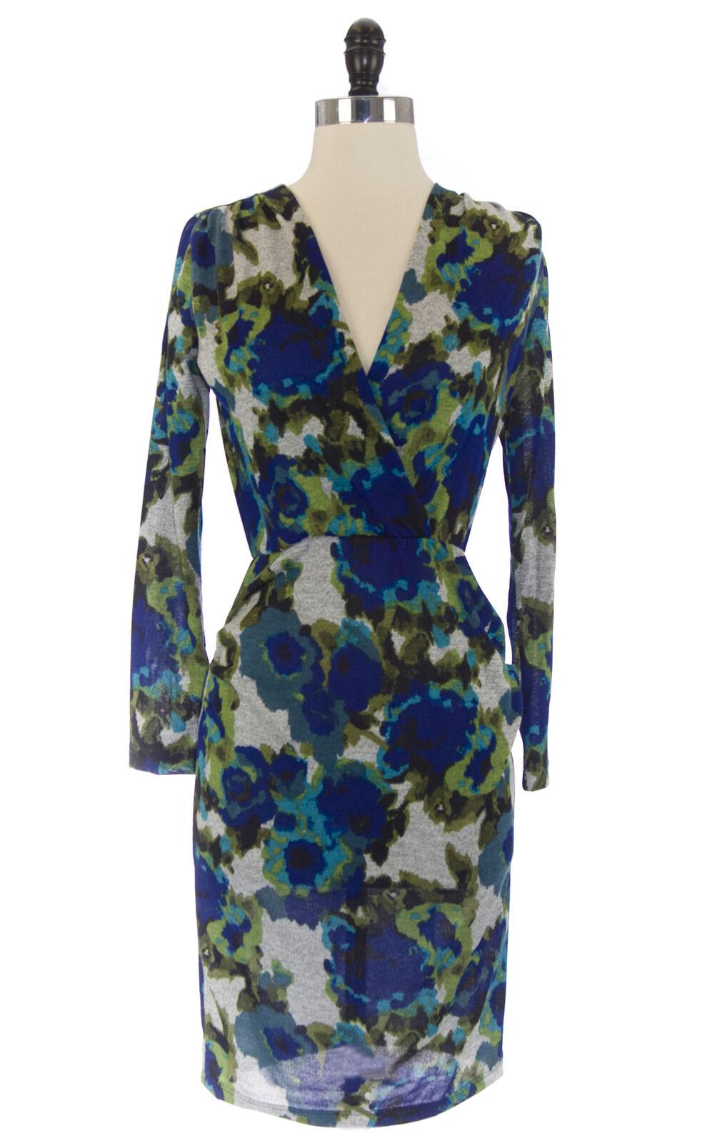 Von Vonni Damen Susanne Grau Blaumenmuster Langärmlig V-Ausschnitt Kleid