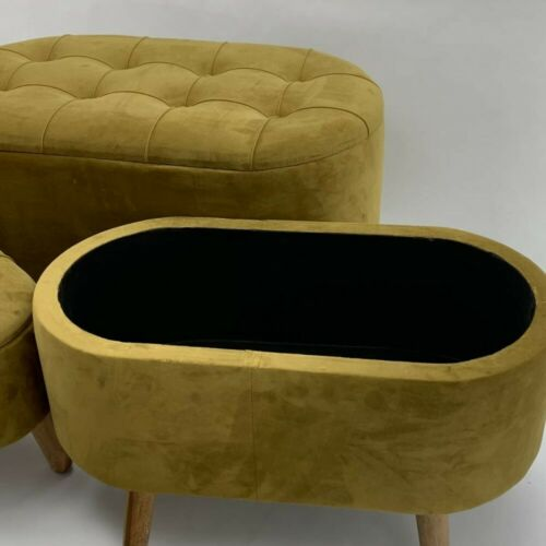 Yellow Storage Trunks with Legs Oval Fabric Buttoned with Lift Up lid Oak legs