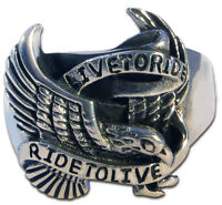 Ring Mens Biker Ride Free Sterling Silver Handmade Jewelry 925 Rock Motorcycle