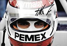 Nelson Piquet SIGNED 12x8 Brabham Helmet Portrait 1981 ,