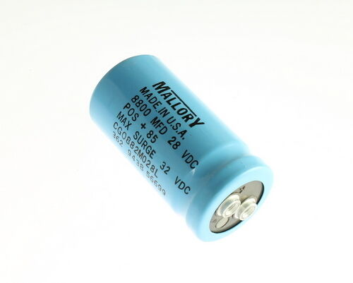 8800uF 28VDC Mallory Large Can Electrolytic Capacitor CGO882M028L
