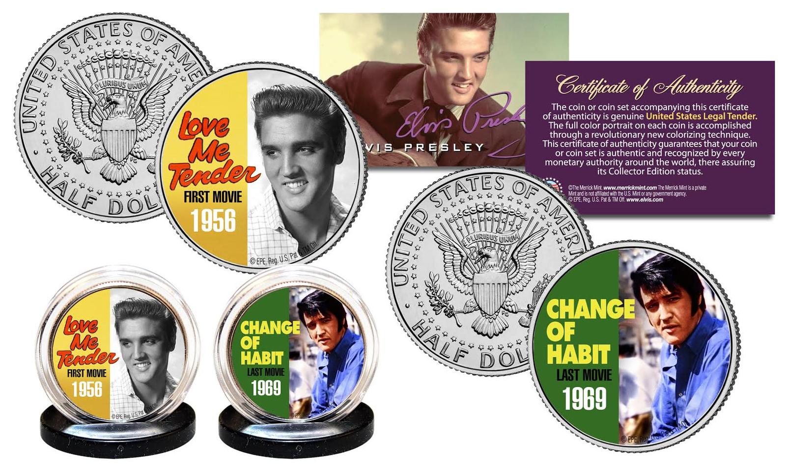 ELVIS PRESLEY 1960/'s-70/'s Music Hits Genuine JFK Kennedy Half Dollar 5-Coin Set