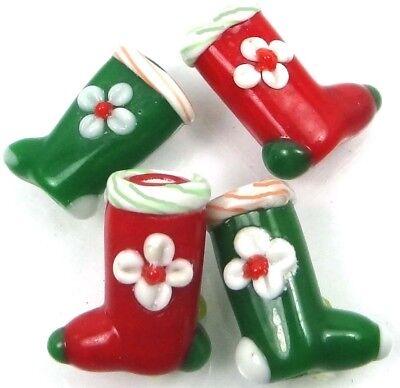 4 Lampwork Handmade Glass Red Green Christmas Boots Beads 18x14mm