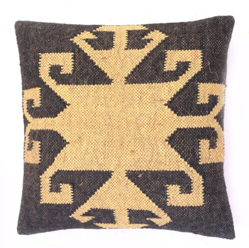 Jute Pillow Cover Throw Indian Jute Cushion Handmade Kilim Boho sham Vintage1003