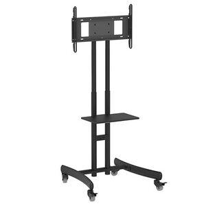 Mobile-Economy-TV-Floor-Stand-With-Bracket-And-Shelf-On-Wheels-Fits-32-034-60-034-TVs