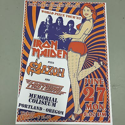 IRON MAIDEN + SAXTON - CONCERT POSTER PORTLAND 27th JUNE 1983 (A3 SIZE)