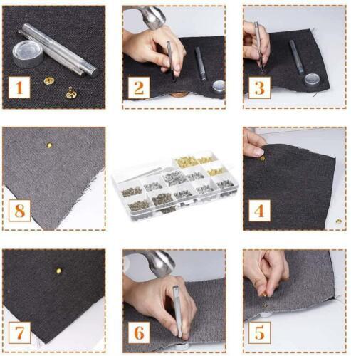 Selizo 480 Sets 4 Colors 3 Sizes Leather Rivets Double Cap Rivet Tubular Metal S