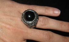 anello bijoux cabochion nero e strass - antichizzato - Vintage