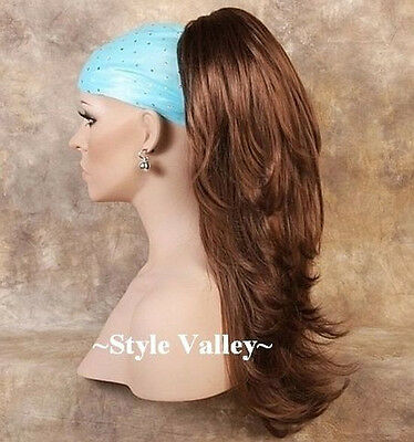 Auburn Ponytail Hairpiece Extension Long Straight Clip in w/Wavy Ends Hair piece